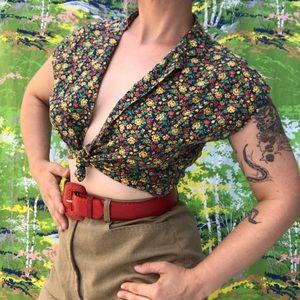 ❣️ vintage floral primary color tie front crop top